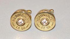 Remington 12 Gauge Shotgun Shell Bullet Cufflinks High Polish Swarovski Crystal