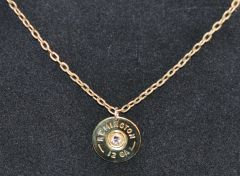 Remington 12 Gauge Shotgun Shell Bullet Pendant Charm Swarovski Crystal With Necklace