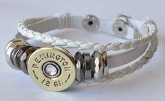 Remington 12 Gauge Shotgun Shell White Leather Bracelet Adjustable Interchangable Bullet Custom Made in the USA