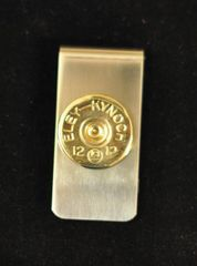 Vintage Eley - Kynoch 12 Gauge Shotgun Shell Money Clip Nickel Silver