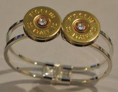 Fiocchi Italy 12 Gauge Shotgun Shell Double Bullet Bracelet (Silver Plate) Spring Loaded Swarovski Crystal