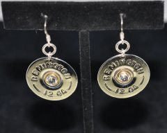 Remington 12 Gauge Shotgun Shell Bullet Nickel Earrings Sterling Silver 925 Ear Wires Swarovski Crystal