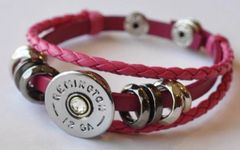 Remington 12 Gauge Shotgun Shell Pink Leather Bracelet Adjustable Interchangable Bullet Custom Made in the USA Shotgun Shell Jewelry