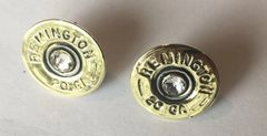 Remington 20 Gauge Shotgun Shell Bullet Earrings with Sterling Silver Post Swarovski Crystals Made in the USA