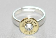Winchester 38 Special Deluxe Bullet Ring Sterling Silver 925 Custom Made Swarovski Crystal