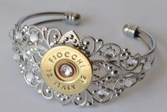 Fiocchi Italy (Silver Finish) 12 Gauge Shotgun Shell Bullet Bracelet Silver Plate Filigree 11 Swarovski Crystals Custom Made in the USA