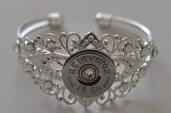 Remington (Silver Finish) 12 Gauge Shotgun Shell Bullet Bracelet Silver Plate Filigree 11 Swarovski Crystals Custom Made