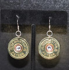 Vintage Rare Remington Peters 12 Gauge Shotgun Shell Earrings Stering 925 Ear Wire Swarovski Crystal Custom Made in the USA