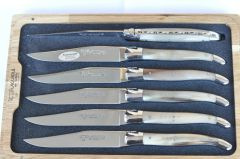 Laguiole En Aubruc 6 Piece Steak Knife Set Handmade Solid Horn Handles