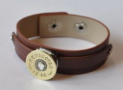 Remington 12 Gauge Shotgun Shell Brown Leather Bracelet Adjustable Interchangable Bullet