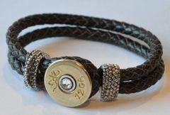 Browning 12 Gauge Shotgun Shell Brown Leather Bracelet Braided Interchangable Bullet Custom Made in the USA