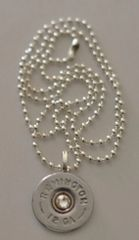 Remington 12 Gauge Silver Finish Shotgun Shell Bullet Pendant Charm with Silver Plate finish Necklace Swarovski Crystal