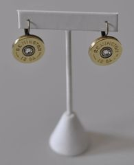 Remington 12 Gauge Shotgun Shell Bullet Earrings Swarovski Crystal French Lever Backs Antique Bronze Made in the USA