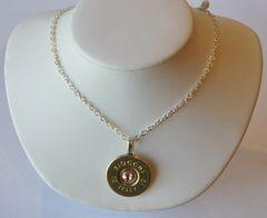 Fiocchi Italy 12 Gauge Shotgun Shell Pendant Charm Silver-plate Necklace Swarovski Crystal