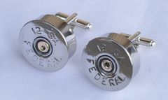 12 Gauge Federal Shotgun Shell Bullet Cufflinks Highly Polished Silver Finish With Gift Box Made in the USA