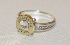 Winchester 38 Special Pistol Bullet Ring Rope Design Sterling Silver 925 Swarovski Crystal Custom Made in the USA