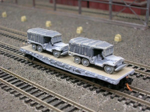 (2) 1 1/2 Ton Cargo Trucks on US Navy Flat Car