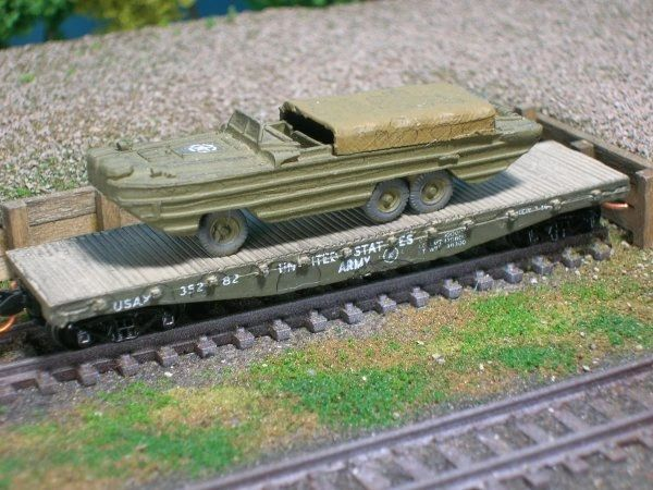 DUKW (Duck) on US Army Transportation Corp Flat Car