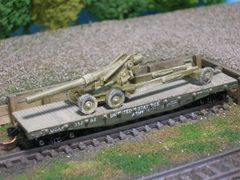 155mm Towed Artillery (Long Tom) on US Army Transportation Corp Flat Car