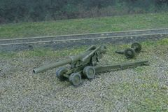 US Army M1 155mm Towed Artillery (Long Tom), unlimbered