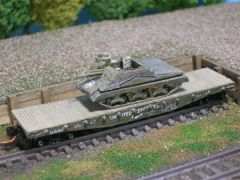 M7 Priest Self Propelled Artillery on US Army Transportation Flat Car