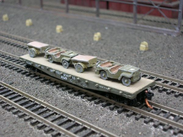 (2) Jeeps w/ 1/4 Ton Cargo Trailers on US Army Transportation Corp Flat Car
