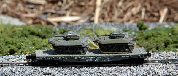 (2) M5 Stuart Light Tanks on a US Army Transportation Corp Flat Car