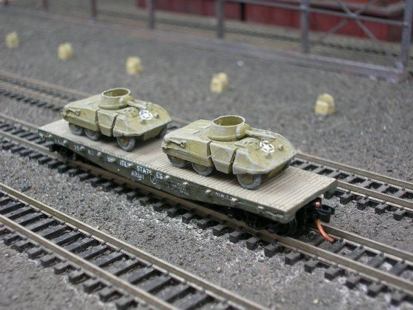 (2) M8 Greyhound Armored Cars on US Army Transportation Corp Flat Car