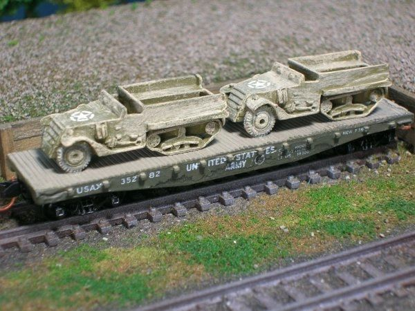 (2) Halftracks on US Army Transportation Corp Flat Car