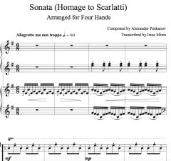 Sonata (Homage to Scarlatti) e-Print (Arr. by Irina Mints for 2 Pianos/4-Hands))