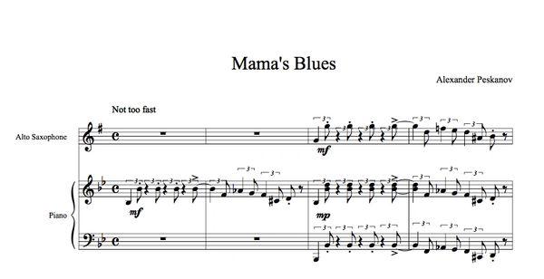 Mama's Blues - Alto Sax & Piano (e-Print)