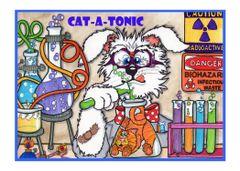 Greeting Card - Boil + Bubble = Feline Trouble.