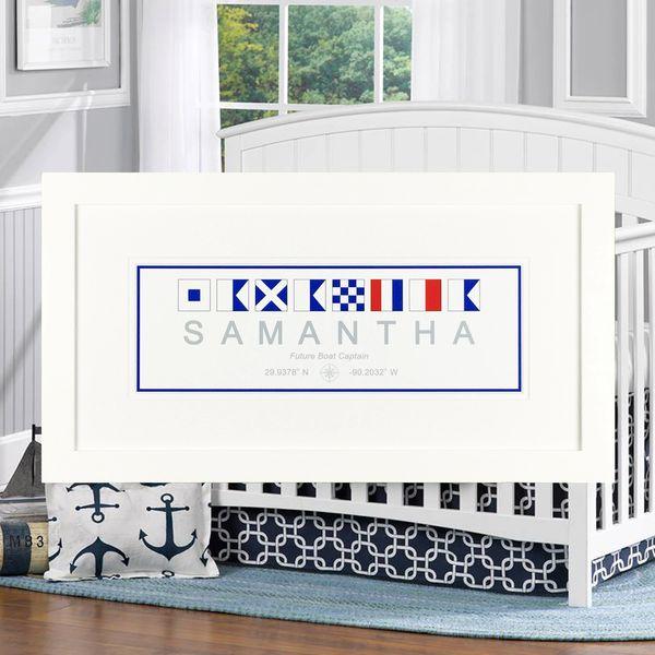 Baby\'s Name - 10 x 20 Nautical Flag Framed Print   Naptown Nautical ...