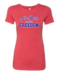 Fast Boats and Freedom Red Crewneck Tee
