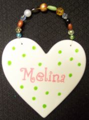 Heart Shaped Ceramic Room Sign-Handpainted