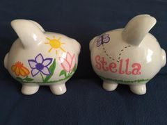 PERSONALIZED SPRING FLOWER PIGGY BANK-LARGE