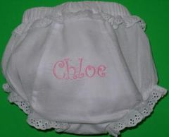 "MONOGRAM EMBROIDERED WHITE COTTON ""FANCY PANTY"" - PERSONALIZED"