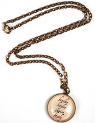 """MONOGRAMMED 1"""" BRASS CIRCLE DOMED GLASS PENDANT (1-4 names) W/ VINTAGE NECKLACE INCLUDED"""