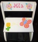 Contempo Flower White Step Stool-Handpainted