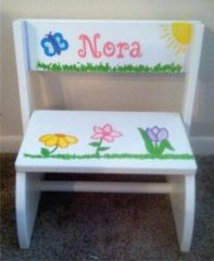 Hand Painted Spring Flower Step Stool