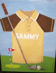 "GOLFER CANVAS 11"" X 14"" HAND PAINTED BY TIRK-PERSONALIZED ORIGINAL"