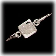 "Bracelet-Sterling Silver Cuff Latch-Square-Engraved-7""-SP964"