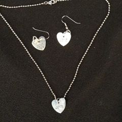 Silver Plated Shiny Flat Heart Shape Dangle Necklace & Earring Set