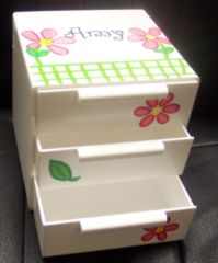 PERSONALIZED 3 DRAWER JEWELRY BOX-HAND PAINTED IN PB FLOWER MOTIF