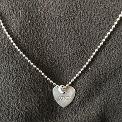 Silver Plated Shiny Flat Heart Shape Dangle Necklace