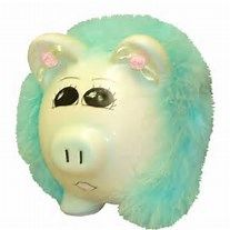 PERSONALIZED SMALL MINT MARIBOU PIGGY BANK