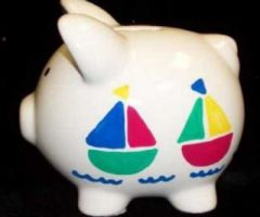 HAND PAINTED BOATS LARGE PIGGY BANK- PERSONALIZED-CERAMIC