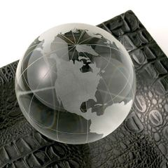Globe Paperweight-Etched Glass
