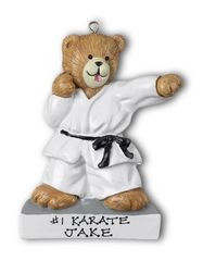 Standing Karate Bear Personalized Ornament