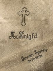 PERSONALIZED EMBROIDERED FAMILY BAPTISM AFGHAN-WHITE CRIB AFGHAN